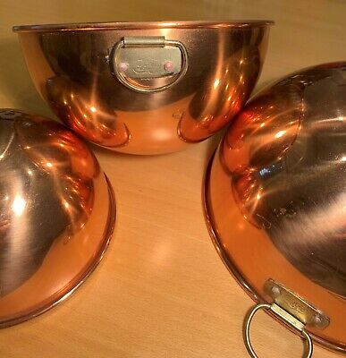 "Solid Copper Bowls, Set of 3, Round Bottom, 8 1/4"", 7 1/8"", 5 3/4"""