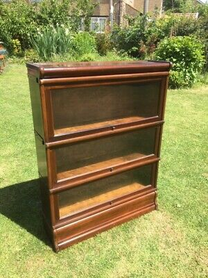 Original Globe Wernicke 3-Tier Mahogany Barristers Stacking Bookcase