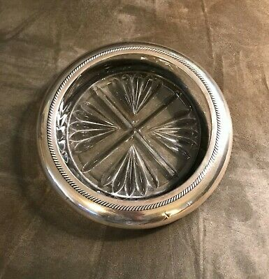 Sterling and Glass Large Wine Coaster.