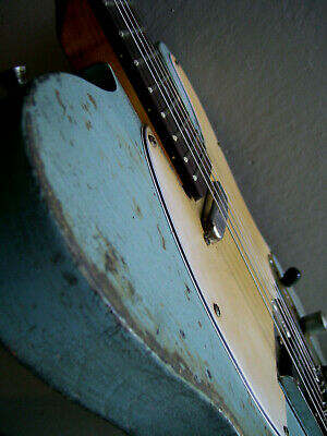 Heavy relic distressed tele style electric guitar - blue