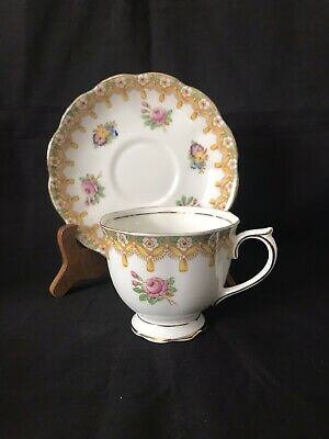 Royal Albert Torquay Teacup And Saucer Green And Yellow Swag With Pink Florals