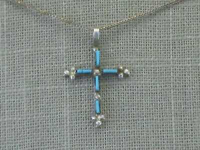 Vintage Zuni Sterling Silver Needlepoint Turquoise Cross Pendant Necklace Native