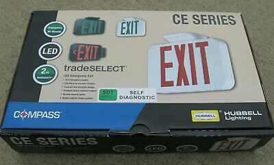 Compass Hubbell CERSD Red LED Battery Backup Damp Location Emergency Exit New