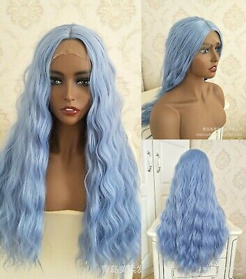 AU 24inch Synthetic Lace front wigs  Light Blue Long Wavy Full Head