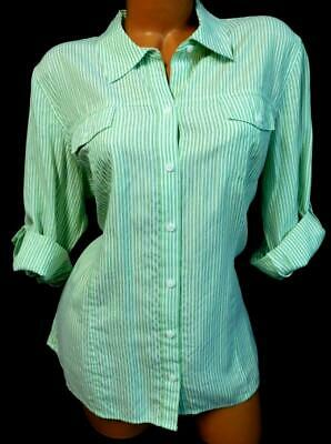 Croft & barrow green striped roll up tab sleeve plus size button down top XL
