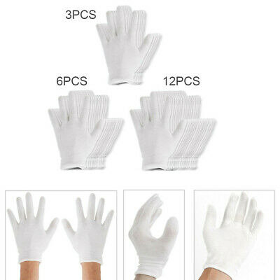 White Elastic Soft Cotton Work Gloves Coin Jewelry Inspection Etiquette Clean HQ