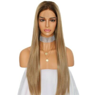 AU 24inch Synthetic Lace front wigs Blonde and Brown Root Women Natural Straight