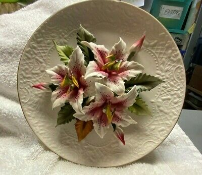Vintage Capodimonte Lily 3D Flowers Plate Made In Italy Fine Porcelain