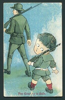 1910's Postcard - Little Boy Pretending to Be a Soldier Like Dad