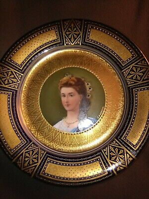 Antique Royal Vienna Porcelain Hand Painted Portrait Plate Signed J.H. Auheim
