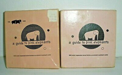 Vintage 1952 A Guide to Pink Elephants Bar Drinks Vol.1 &  Vol.2 (1957) w/ Boxes