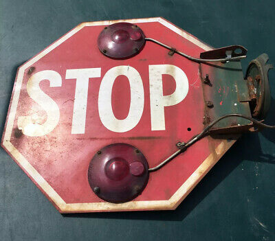 Vintage (Unusual)  Old Original School Bus Stop Sign Double Sided 18""
