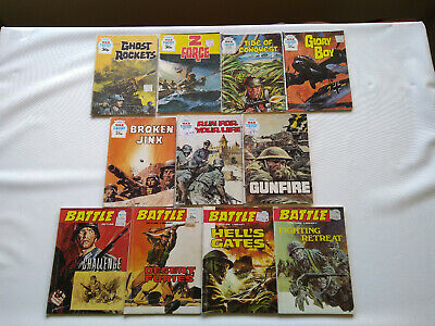 WAR & BATTLE Picture Library Comic Books X 11 - FREEPOST All 100's 1970s/80s
