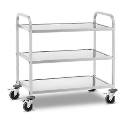 Stainless Steel Service Trolley Serving Catering Service Cart 3 Shelves 240kg