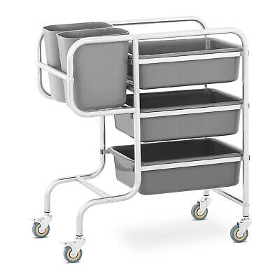 Stainless Steel Bus Cart Service Trolley With 3 Bus Tubs 2 Rubbish Bins 84kg