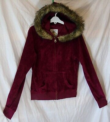 Girls Lipsy Maroon Red Velour Sparkly Logo Hooded Jacket Hoodie Age 15-16 Years