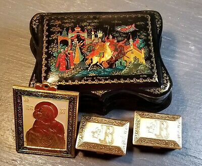 Painted Russian Lacquer Box Plus Icon More Hinged Fairy Tale