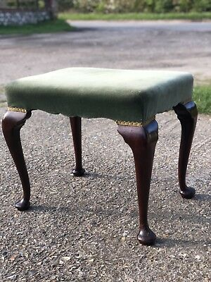 Vintage Upholstered Dressing Stool Queen Anne Style