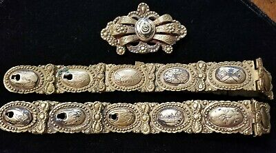 Antique Early Ottoman Empire Turkish Belt Buckle Crescent Moon Islamic and links