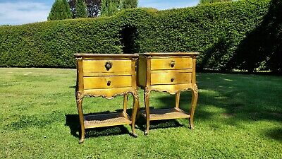 Pair of French Antique Style Gilt Rattan Shelf Bedside/Sitting Room Side Tables