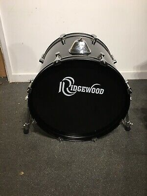 20in Bass Drum Gloss Black Refurbished For Drum Kit Good Heads FREE P&P
