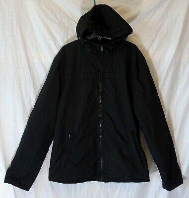 Boys George Plain Black Fleece Lined Hooded Lightly Padded Coat Age 15-16 Years