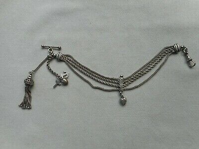 ANTIQUE STERLING SILVER ALBERTINA WATCH CHAIN with FOXTAIL TASSEL FOB