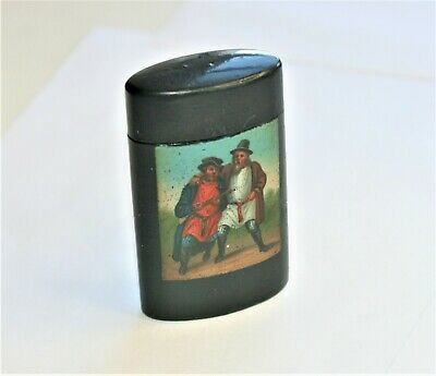 BEAUTIFUL RUSSIAN PAINTED VESTA CASE by LUKUTIN  SIGNED !!  GOOD COND.  C1860