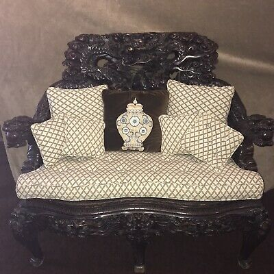 Antique  Chinese Hand Carved Wood Dragon Armchair And Loveseat.