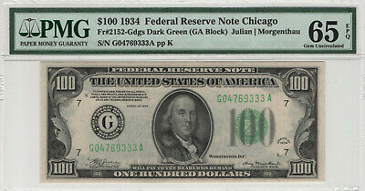 1934 $100 Federal Reserve Note Chicago Fr.2152-Gdgs Pmg Gem Unc 65 Epq (333A)