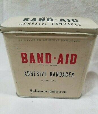 Vintage Band-Aid Tin Metal box Adhesive Bandages - Plain Pad Johnson & Johnson