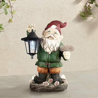 "Outdoor Gnome Lantern Statue with Light Solar LED 16"" for Yard Garden Patio Deck"