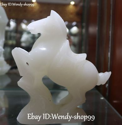 Chinese Natural White Jade Carved Running Tang Horse Zodiac Year Animal Statue
