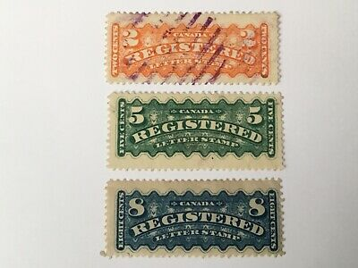old stamps CANADA  x 3  Registration Stamps 1875-88