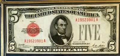 Series 1928 $5 Us Note Woods/Mellon, Red Seal & Ser  (Aa-Block) Very Good Color