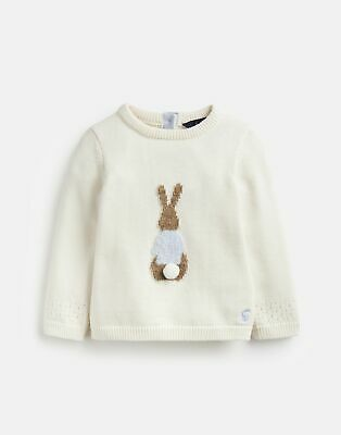 Joules Baby Girls Ivy Intarsia Knitted Jumper - CREAM PETER RABBIT