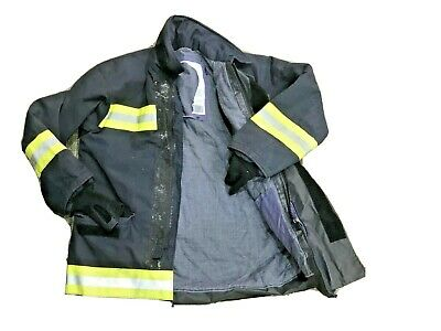 Used Firefighter Jackets,Trousers, Salopettes Navy With Hi Viz Bands Large #2724
