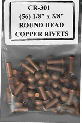 "CR-301.  (56) 1/8"" x 3/8"" Round Head Copper Rivets"