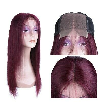 AU 10-14inch 4x4 Lace front wig Pre Plucked Bug Red 100% Human Hair Straight