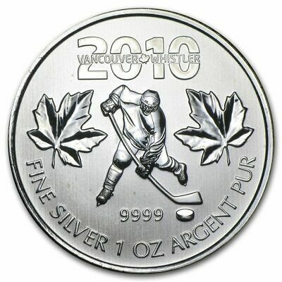 2010 Canadian Silver Maple Leaf Vancouver Olympics Ice Hockey Coin (20)