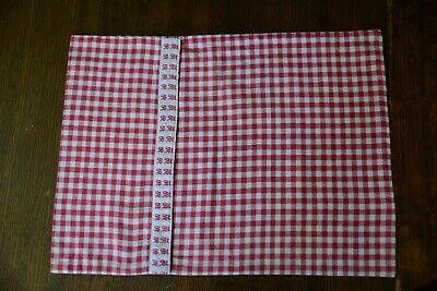 Antique Cushion Cover Red  Gingham Check With Vintage Nametape Name Tape