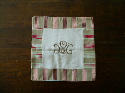 Antique Linen Monogrammed Cushion Cover French Ticking