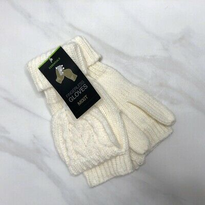 Mixit Essentials Ivory Knit Fingerless Gloves Mittens Women's One Size Fits All
