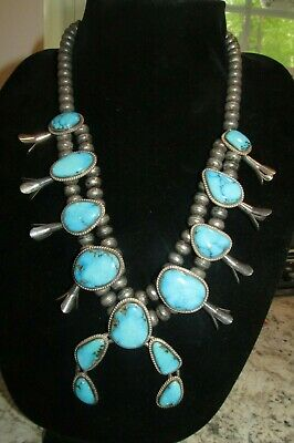Signed R House Vintage Navajo Squash Blossom necklace Sterling Silver Turquoise