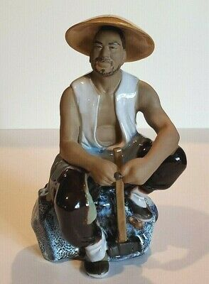 Shiwan Large Chinese Mud Man with Sledge Hammer / Kiln Fired Ceramic