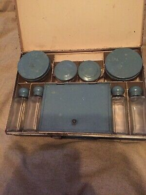 Art Deco Lady's Travel Vanity Set In Very Good Condition In Blue