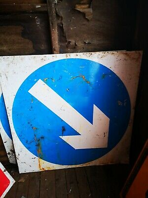 Metal Road safety sign Blue Arrow