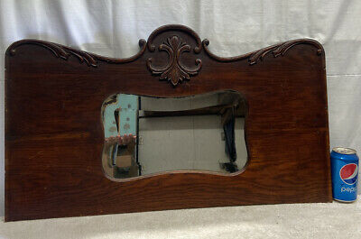 Vtg 1920-30's Oak Buffet Salvage Ornate Beveled Mirror Wood Backing Wall Hanging