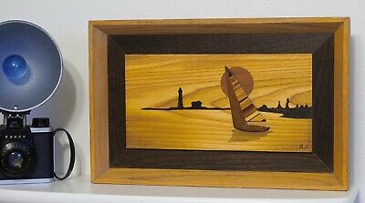 Vtg Robert W. Johnson Signed Original Art Wood Marquetry / Inlay -- Boat Ride --