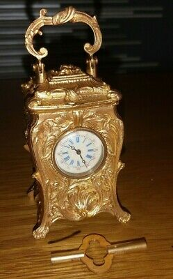 Miniature French Gilded Bronze 8 Day Carriage Clock